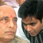 राजनाथ सिंह अपने बेटे पंकज सिंह के साथ
