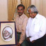 ए पी जे अब्दुल कलाम आजाद अपने पिता की पेंटिंग के साथ