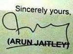अरुण जेटली हस्ताक्षर