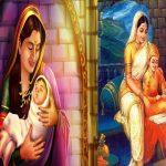 शिवाजी महाराज अपनी माँ जीजाबाई के साथ