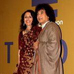 ज़ाकिर हुसैन अपनी पत्नी के साथ