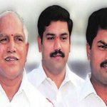 बी॰ एस॰ येदियुरप्पा अपने बेटों के साथ