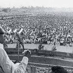 जे. पी. पटना गांधी मैदान में भाषण देते हुए