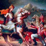 रानी लक्ष्मीबाई का युद्धभूमि में अपने बेटे के साथ लड़ते हुए चित्र