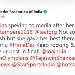 एथलेटिक्स फेडरेशन ऑफ इंडिया का ट्वीट