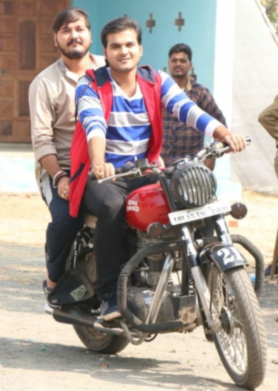 Arvind riding his bike Royal Enfield Classic 350