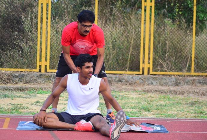 Murali Sreeshankar getting trained with his father in Palakkad