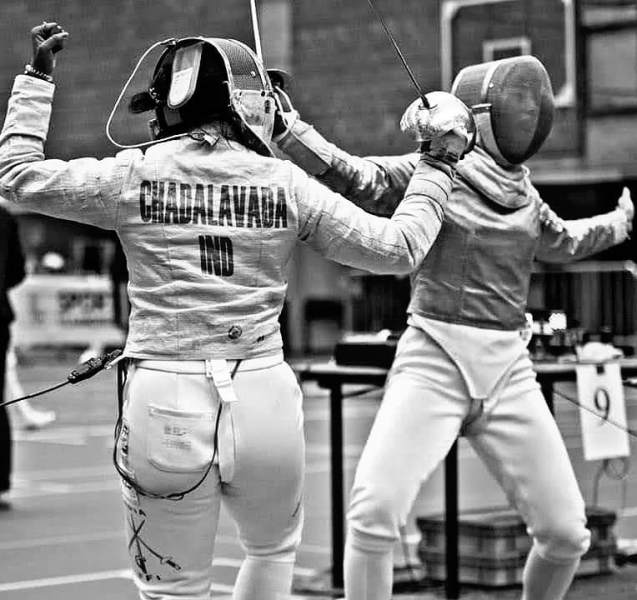 Bhavani Devi while playing fencing