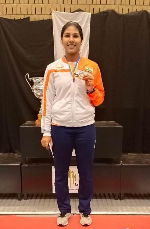 Bhavani Devi while showing her Silver medal in Womens Sabre at the Flemish Open 2019 and Tournoi Satellite held at Gent Belgium